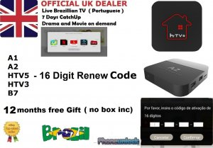 Recharge Code for A2 A1 HTV6 B7 TV BOX 13 Months TopUp  Brazilian Portuguese