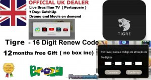 Recharge Code for TIGRE TIGRE2 TV BOX 12 Months TopUp  Brazilian Portuguese